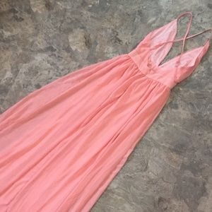Peachy pink maxi dress plunge front low back